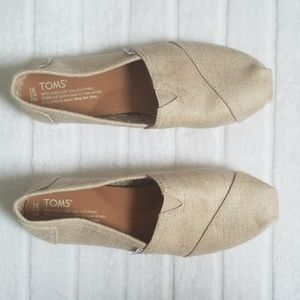TOMS NATURAL METALLIC BURLAP WOMEN'S W7.5